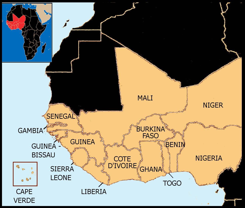 Senegal Karta Vastafrika Karta Over Senegal Karta Vastafrika